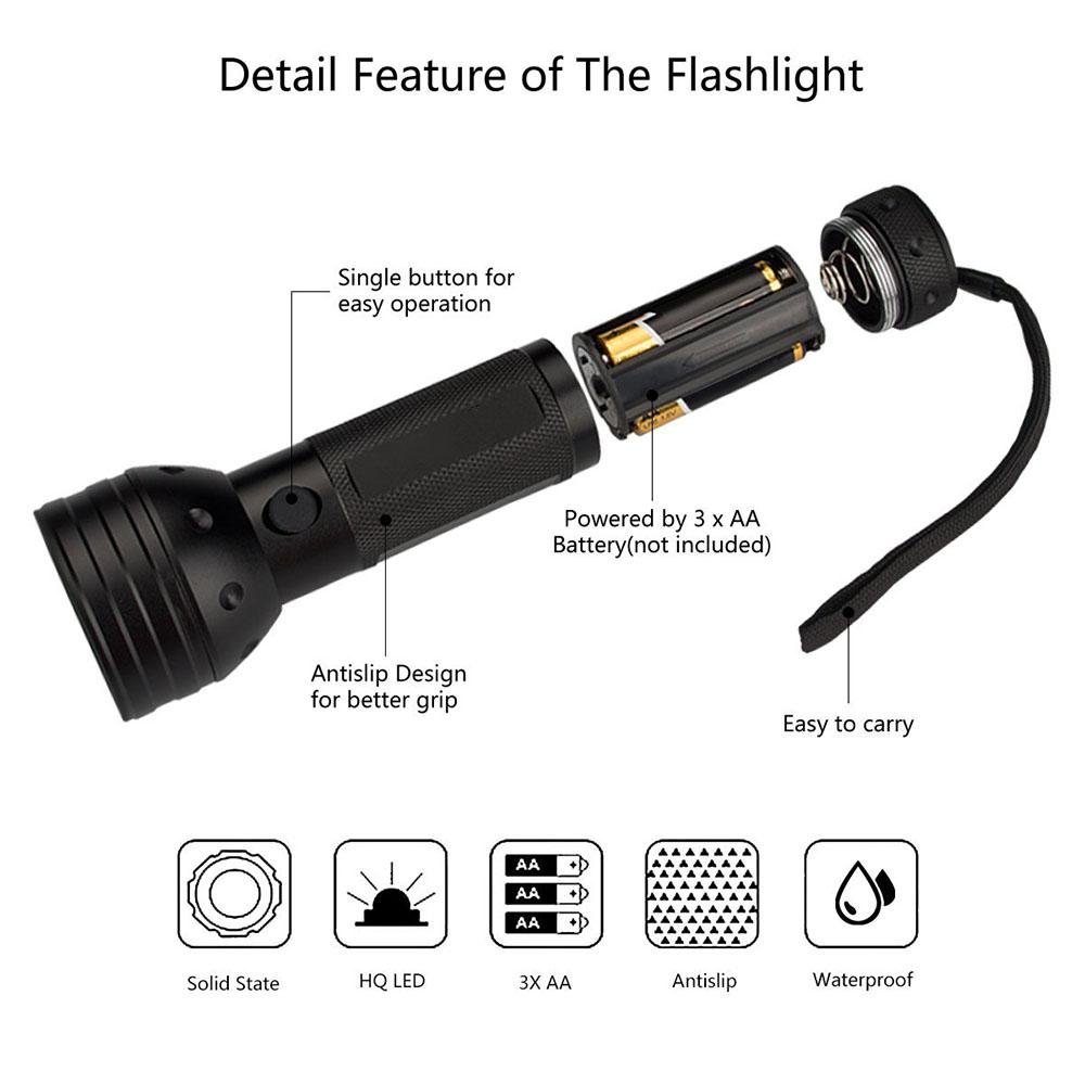 51 LED 395 nM UV Flashlight Torch
